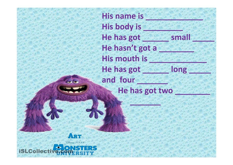 describing monsters | ESL | Pinterest | Monsters, Worksheets and Teacher
