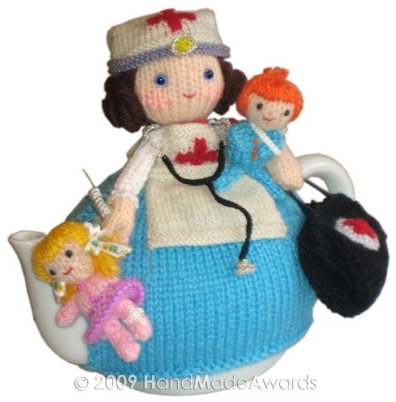 Sweet Nurse with Children Tea Cosy Email KNIT by HandMadeAwards ...