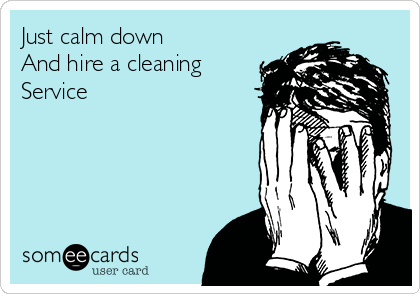 Just Calm Down And Hire A Cleaning Service Cleaning Quotes Funny Cleaning Quotes Clean House Quotes