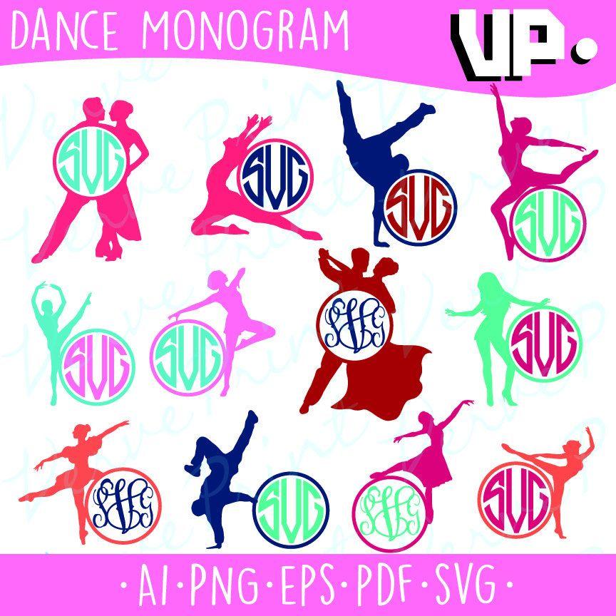 Dancer Monogram Frames Svg, Ballerina Svg, Ai, Eps, Pdf, Png Cutting ...