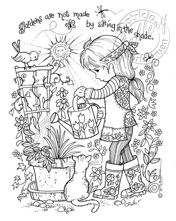 Adult Coloring Book Pages Digital Download Gardener Garden