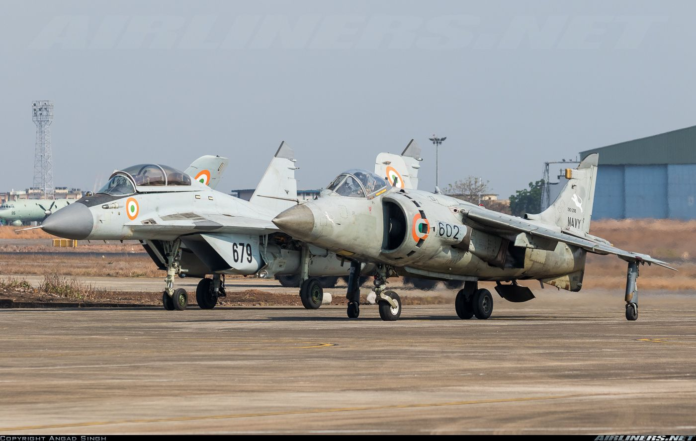 Indian Navy MiG29KUB and BAE Sea Harrier together at Goa