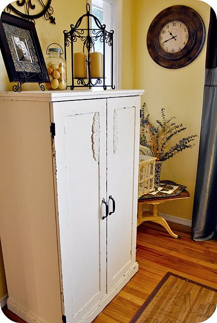 DIY Shabby Chic Makeover For Computer Armoire