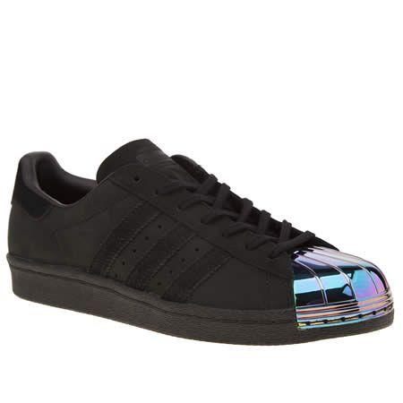 womens adidas black superstar 80s metal toe trainers