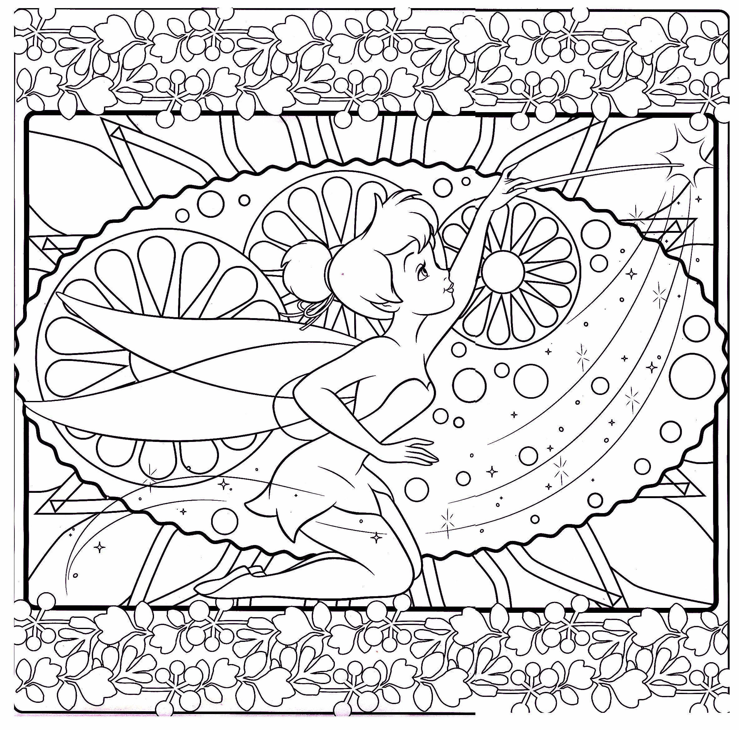 Tinkerbell difficult coloring page mommy coloring pinterest