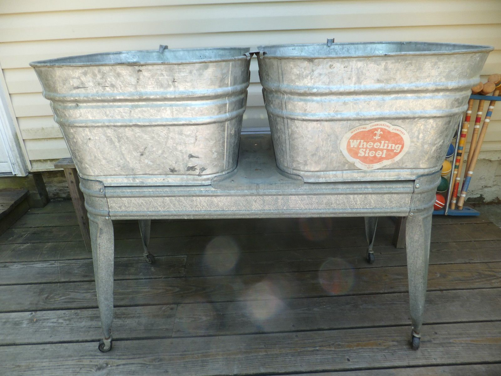 Vintage Wheeling Galvanized Metal Double Wash Tubs W