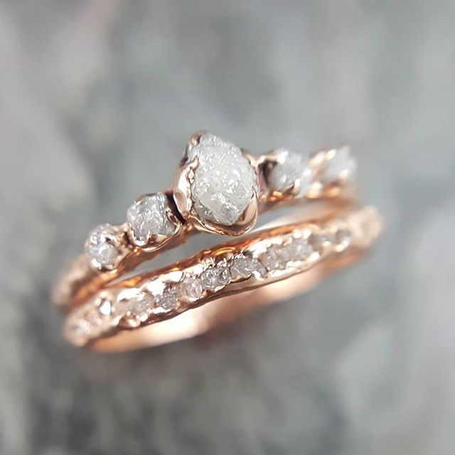 """Handcrafted by Angeline on Instagram: """"Raw rough conflict free diamond rose gold stackers #sayyes #ido #diamonds"""""""