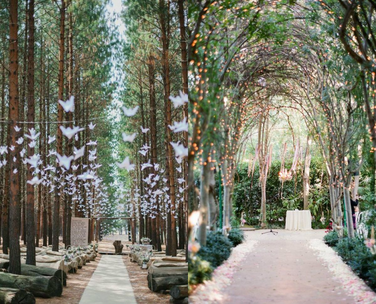 Natural Spring Forest Themed Wedding Reception Dcor Ideas