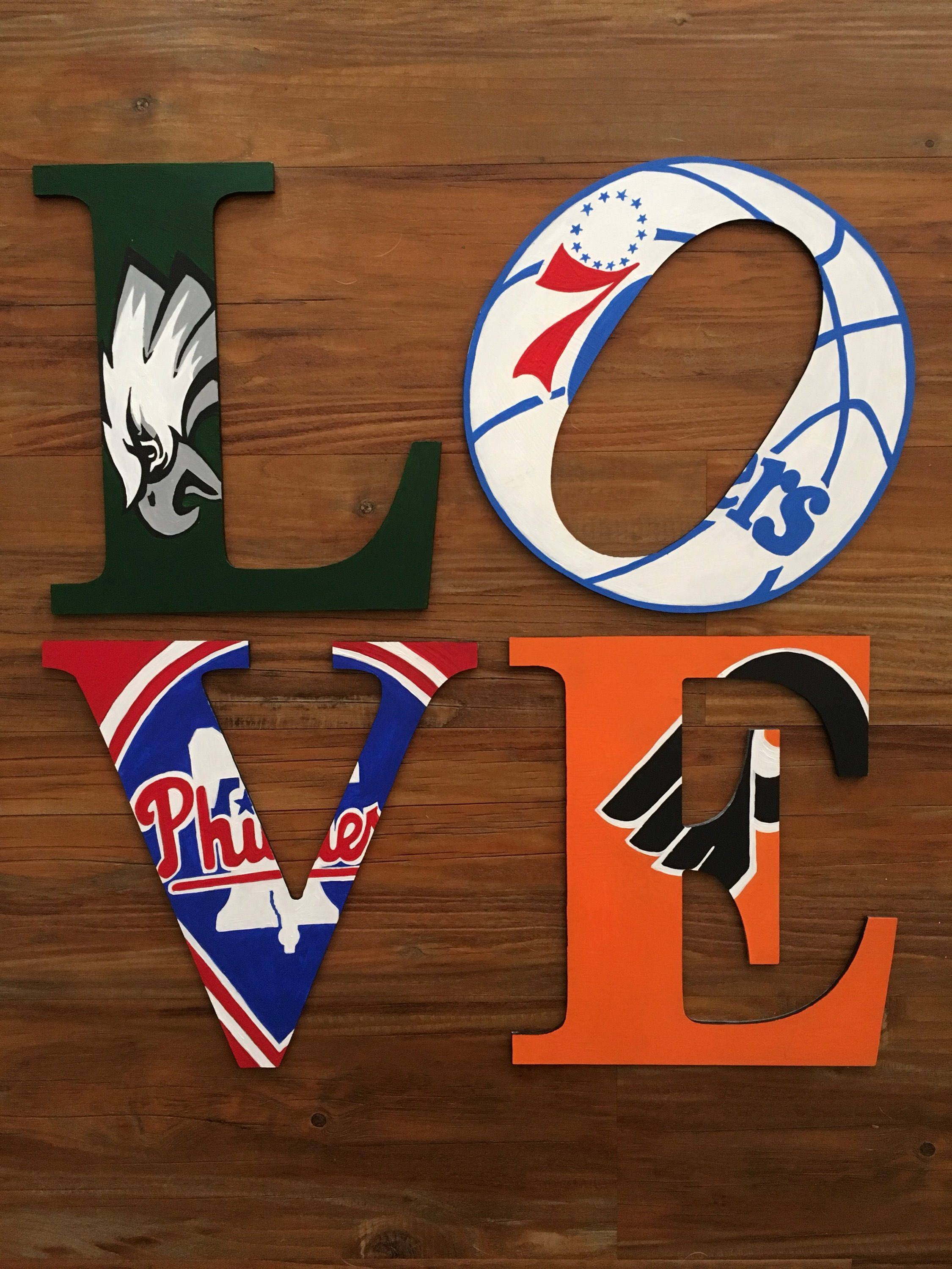 Philadelphia Love Wooden Handpainted Letters Of Your Favorite Etsy Sports Man Cave Philadelphia Eagles Man Cave Football Man Cave