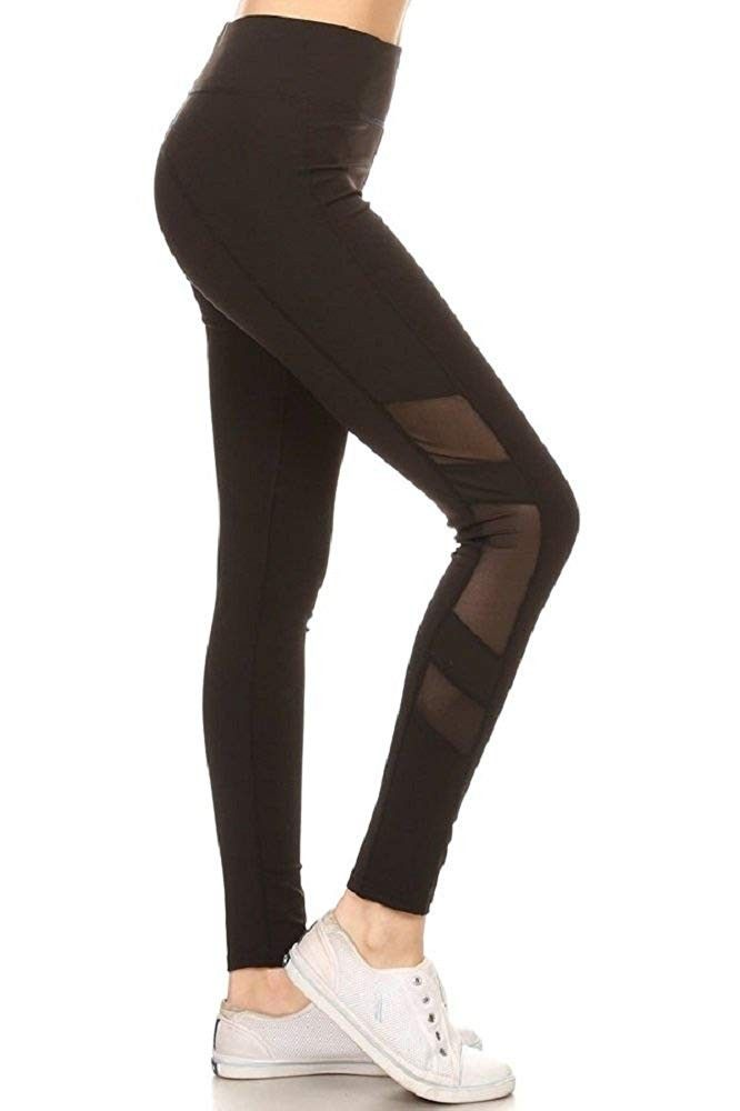 Women's Active Mesh Panel Insert Workout Yoga Leggings & Capris with Pockets - Black-66 - CN18DCET8W...