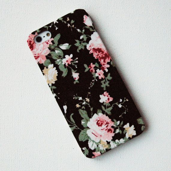 buy popular 62620 59356 Pink Floral Pattern on Black Fabric iPhone 5 Case | misc. | Iphone ...
