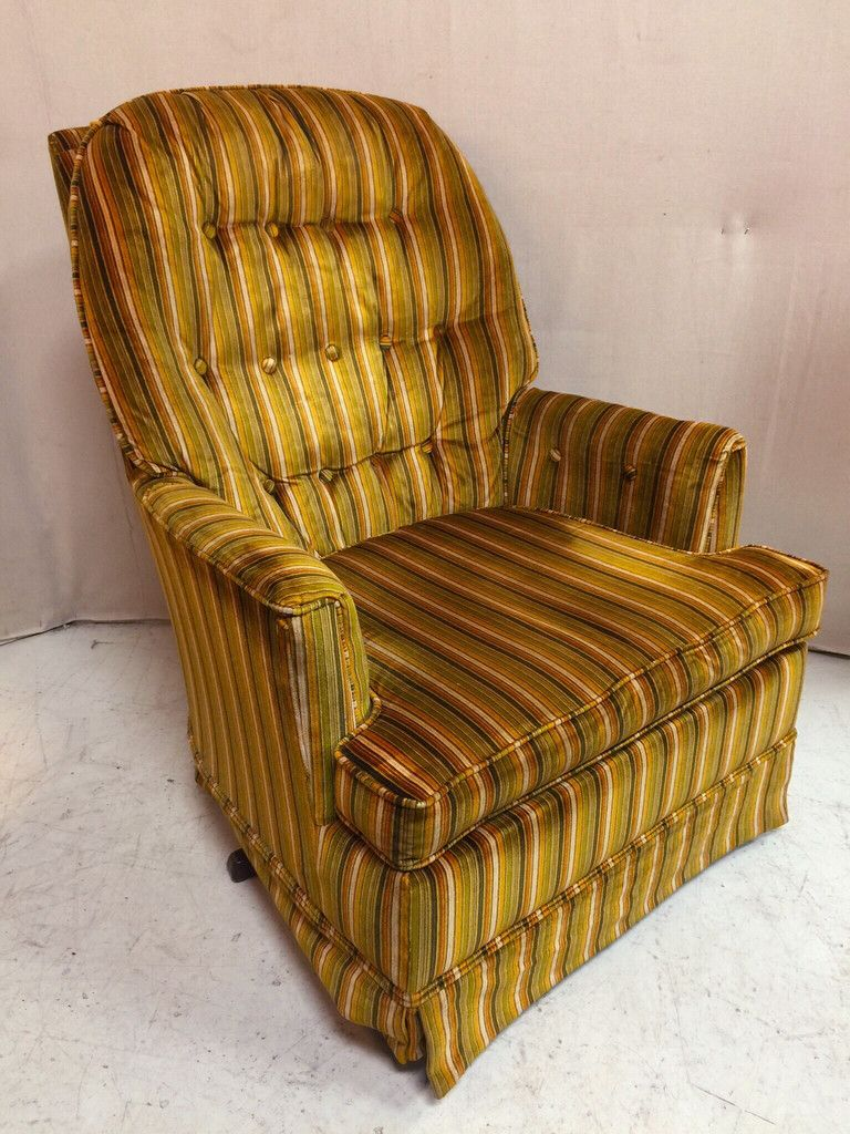 1970s striped velvet green and yellow swivel arm chair $165