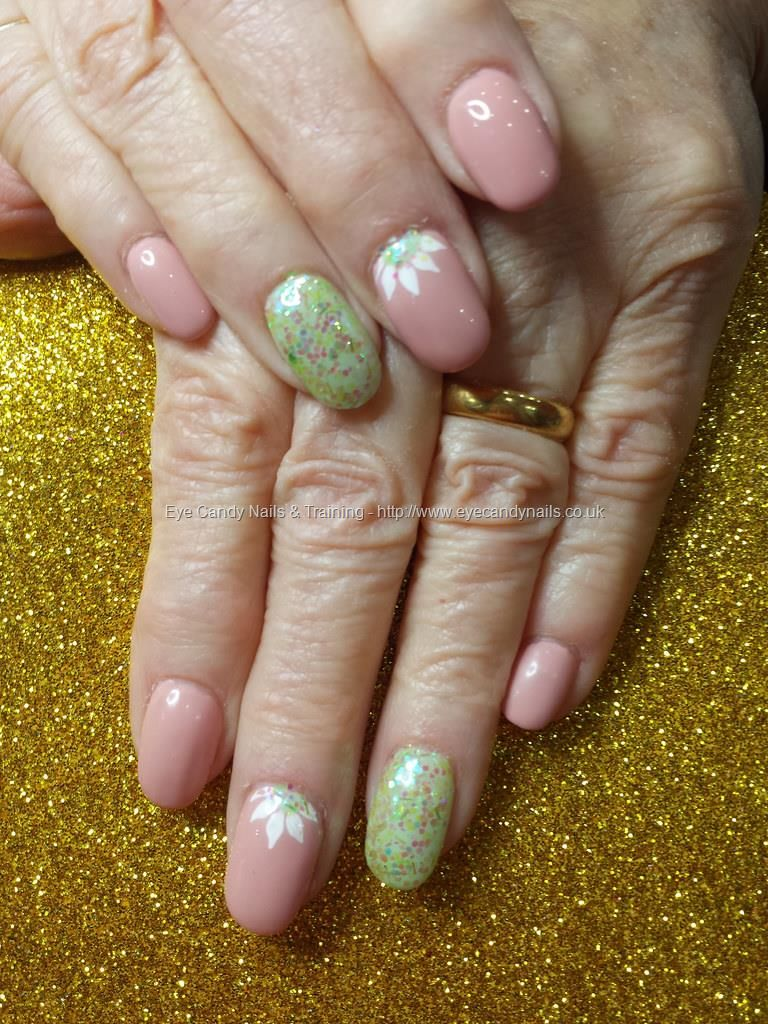 Nude gel polish with glitter and freehand nail art | Nail Addiction ...