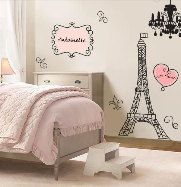 kinderzimmer f r m dchen retrocharme eiffelturm wandtattoo sch nes f rs kinderzimmer. Black Bedroom Furniture Sets. Home Design Ideas