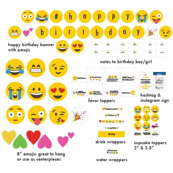 Printable instagram emoji party collection seba 39 s bday for Emoticones para instagram