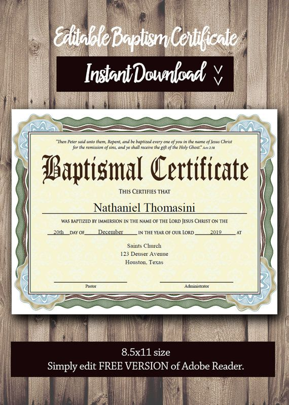 editable baptism certificate template - pdf adobe reader editable file