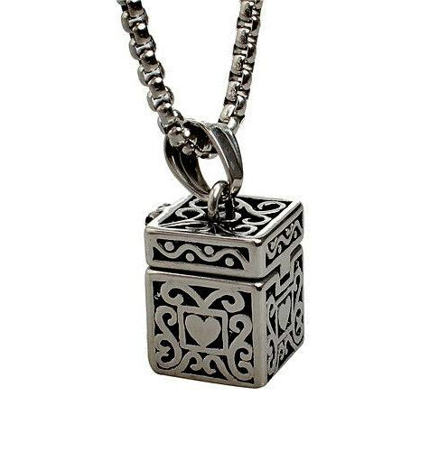 fillable Jewelry Black Urn Necklace Stainless Steel Urn Pendant Cylinder Memorial Cremation Necklace Ash  Holder