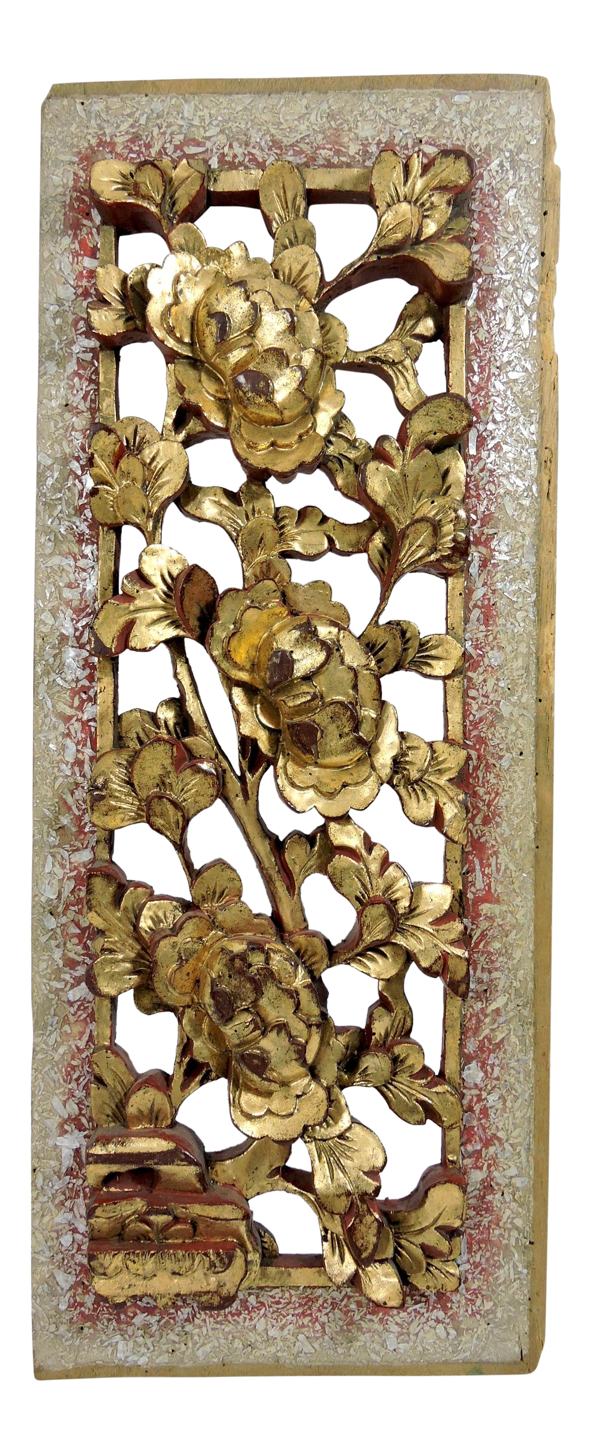 Vintage Wood Paneling: Antique Chinese Sculptural Red And Gold Chrysanthumum Wood
