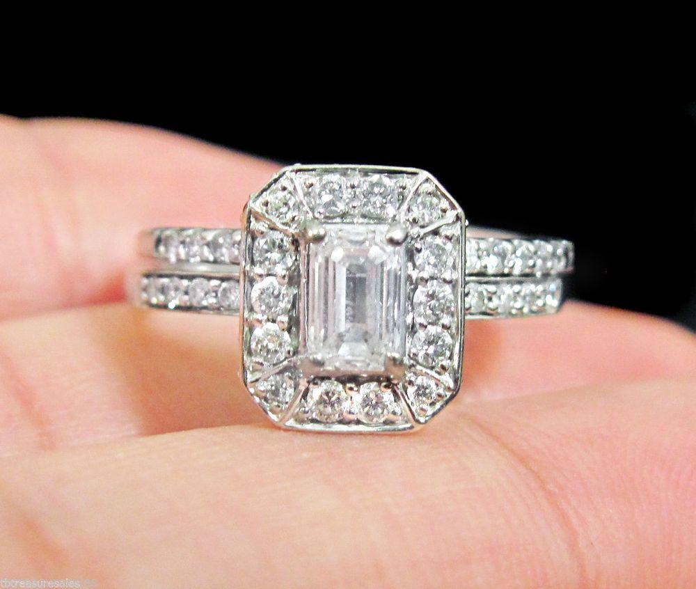 KAY JEWELERS ENGAGEMENT EMERALD DIAMOND RING WEDDING BAND SET HALO 1 CTW GOLD