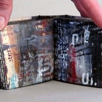 Linda Welch. 2012. Mixed media: collage, oil paint, graphite, screen printing. 3 x 3 x 1.25 inches