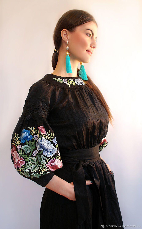 beac3cd93b654d5 Платья ручной работы. Роскошное черное платье с ручной вышивкой