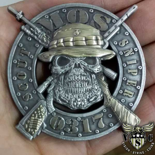 USMC 0317 Scout Sniper Marine Corps MOS Coin $17.75 | Military ...