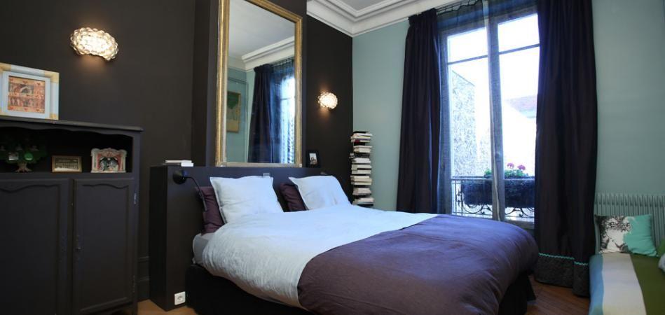 chambre parentale noir turquoise delphine estour Bedroom