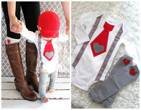 1st valentine baby boy tie and suspenders bodysuit with heart applique red heart leg warmers - Valentines Day Outfit Baby Boy