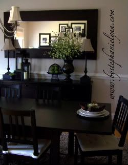 Dining Room Buffet Black Furniture Looks Great With Touches Of Green Accents