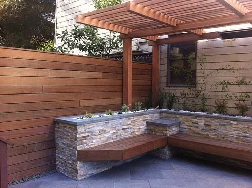 brick and wood planter bench garden-makeover-project