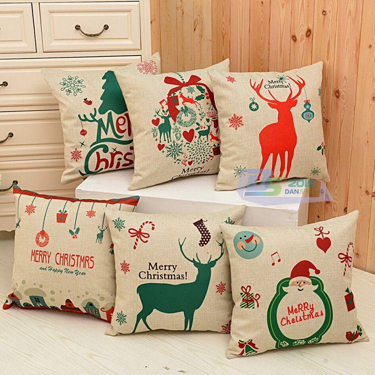 Christmas Xmas Tree Santa Deer Cotton Pillow Case Throw Cushion