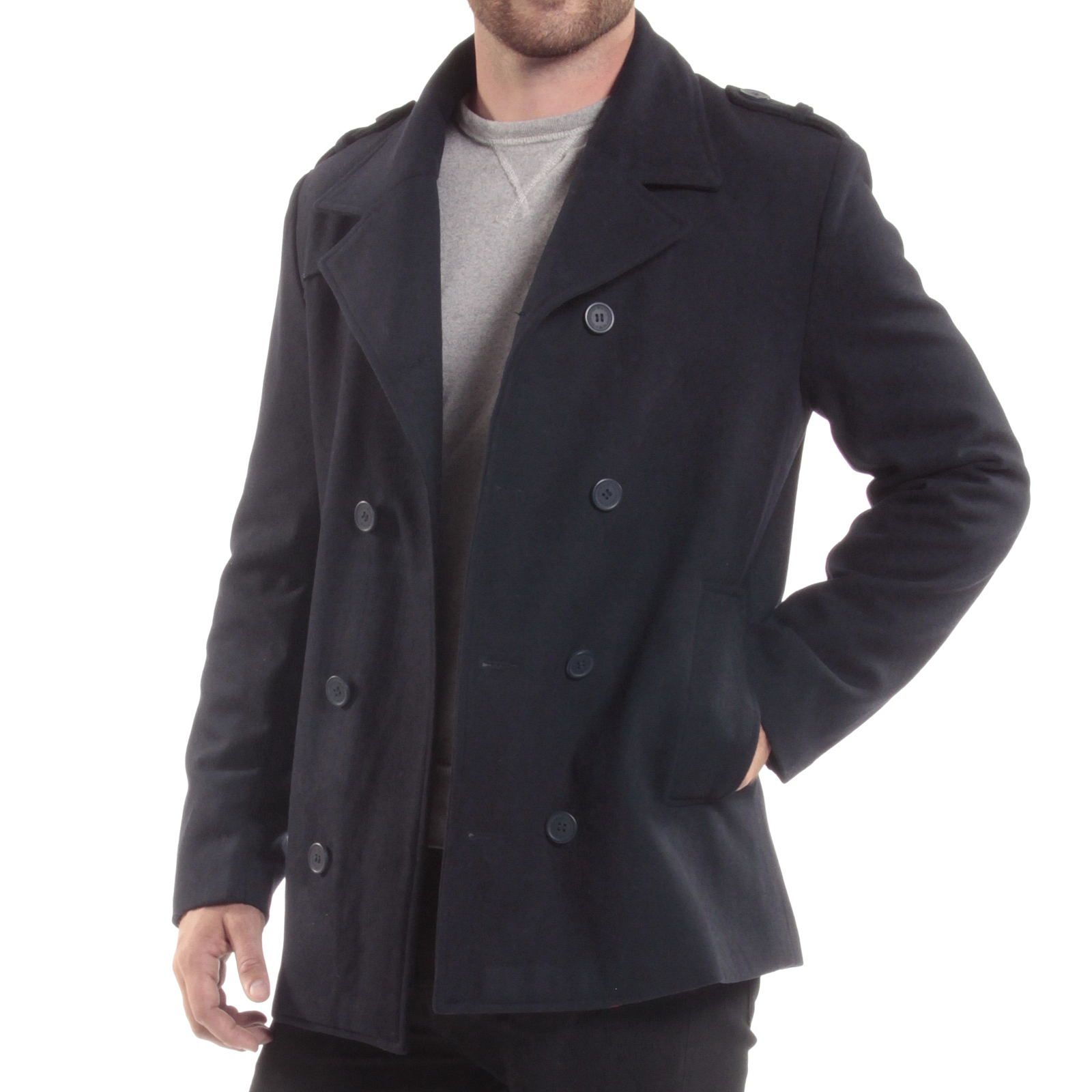 e9b16f6319 Alpine Swiss Jake Mens Pea Coat Wool Blend Double Breasted Dress Jacket  Peacoat Men's Clothing