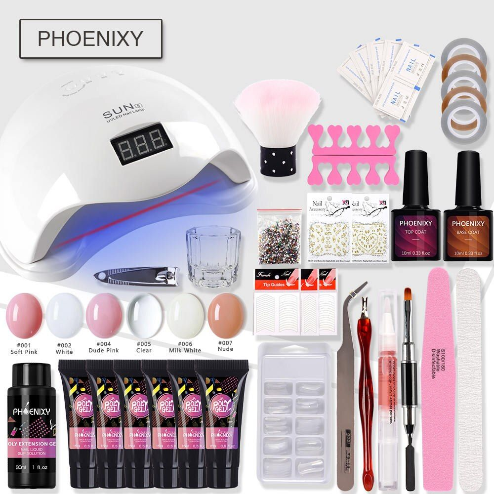 PolyGel Nail Set 48/36W UV Dryer Lamp For 6Color Nail