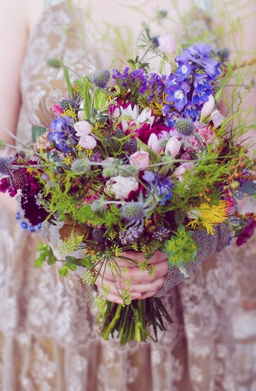 Colourful Homegrown Garden Flower Wedding Bouquet By The Real Cut