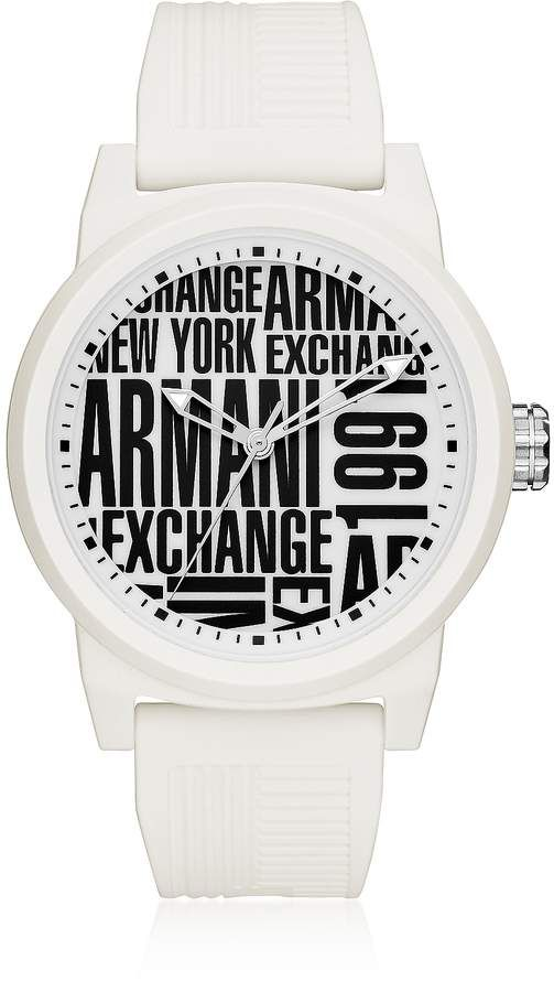 3a83ca344f Armani Exchange Atlc White Silicone Men's Watch | Products | Watches ...