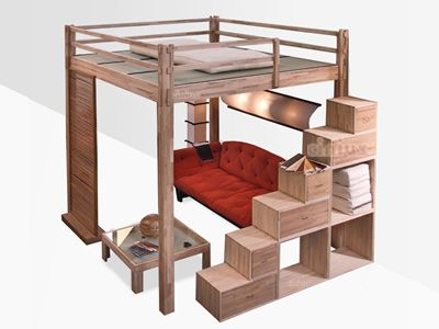 Soppalco letto rising soluzione per camerette case pinterest camas camas altas e planos for Soppalco camera da letto