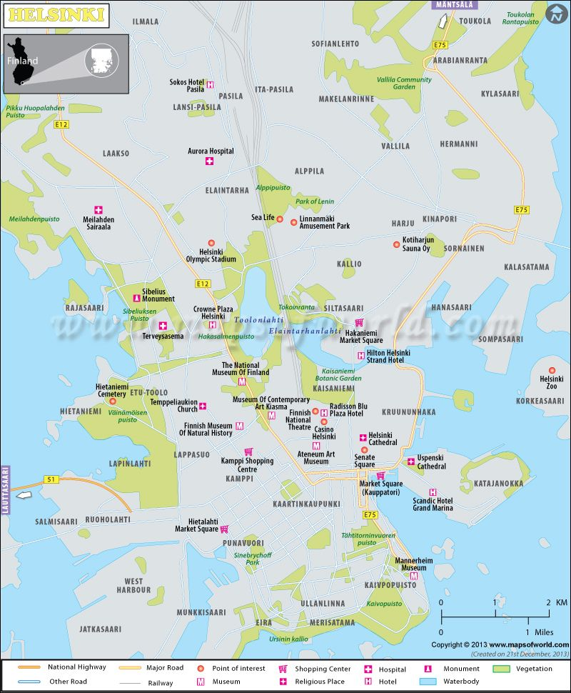 Helsinki map the capital of Finland shows major landmarks tourist