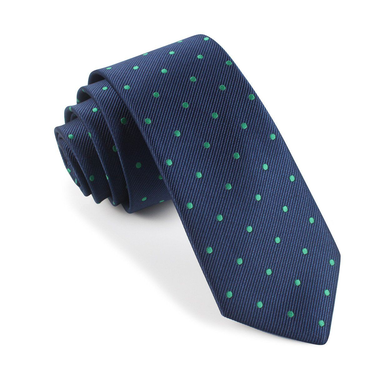 Navy Blue with Green Polka Dots Skinny Tie Skinny ties