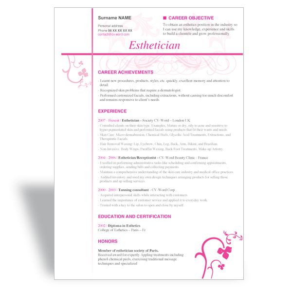 Esthetician Resume Sample  HttpWwwResumecareerInfo