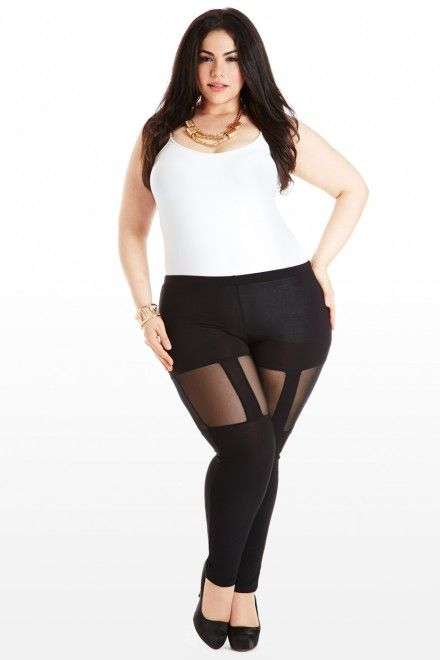 Plus Size Garter With Your Life Cutout Leggings Fashion to Figure ...