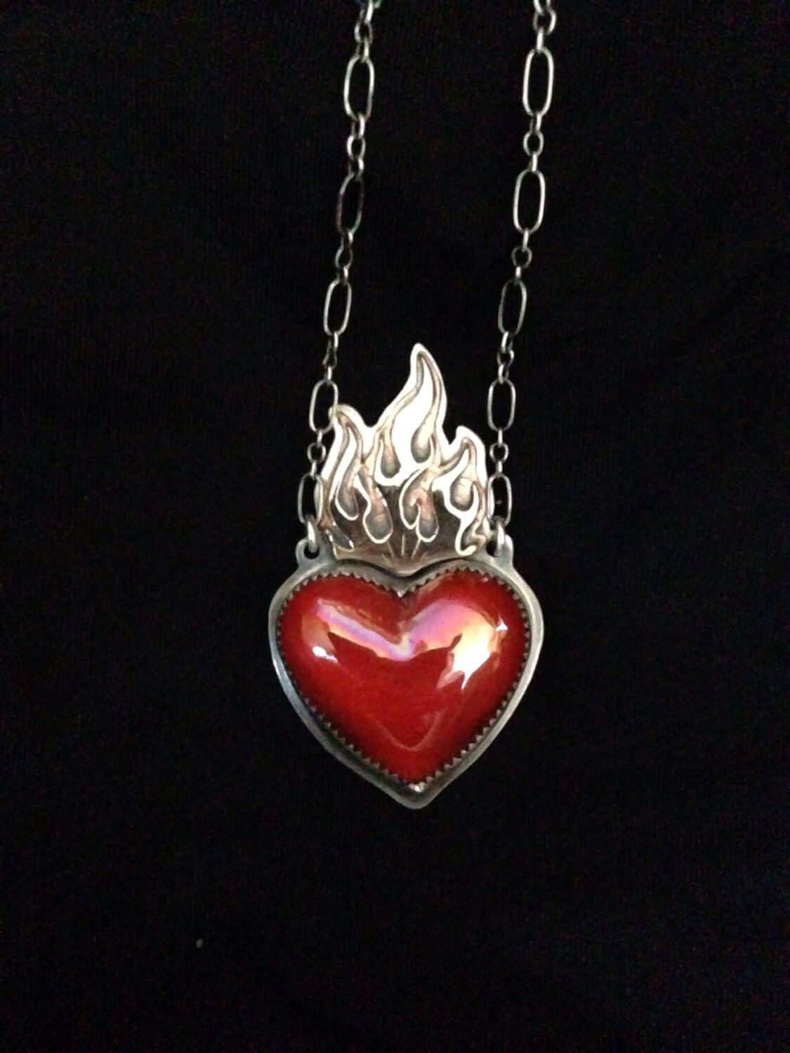 Sacred heart mixed metal necklace by sloane99 on etsy httpswww sacred heart mixed metal necklace by sloane99 on etsy httpsetsy aloadofball Images