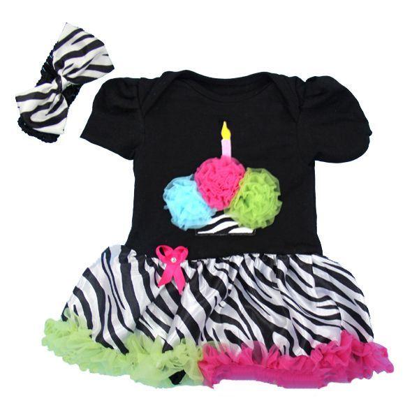 Funky Zebra Print Rainbow 1st Birthday Cupcake 2 Piece