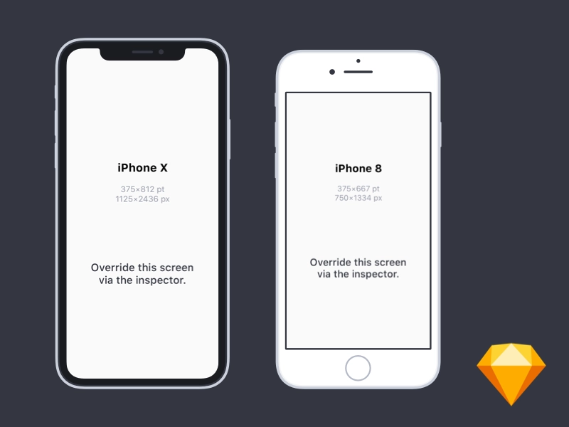 Flat Iphone X And Iphone 8 Mockups For Sketch Iphone Free Iphone Phone Template