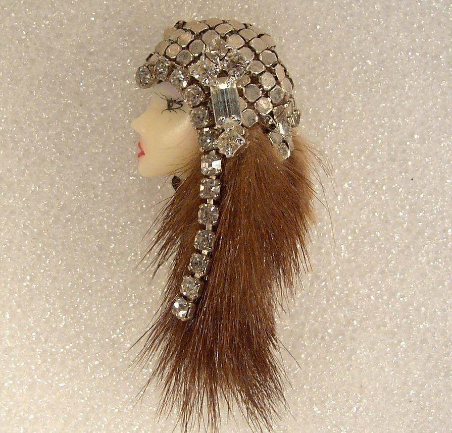 LADY+HEAD+FACE+Porcelain-Look+Resin+Brooch+Pin+Flapper+RS+Mink+Gypsy+Handmade+#Handmade+#BroochPin