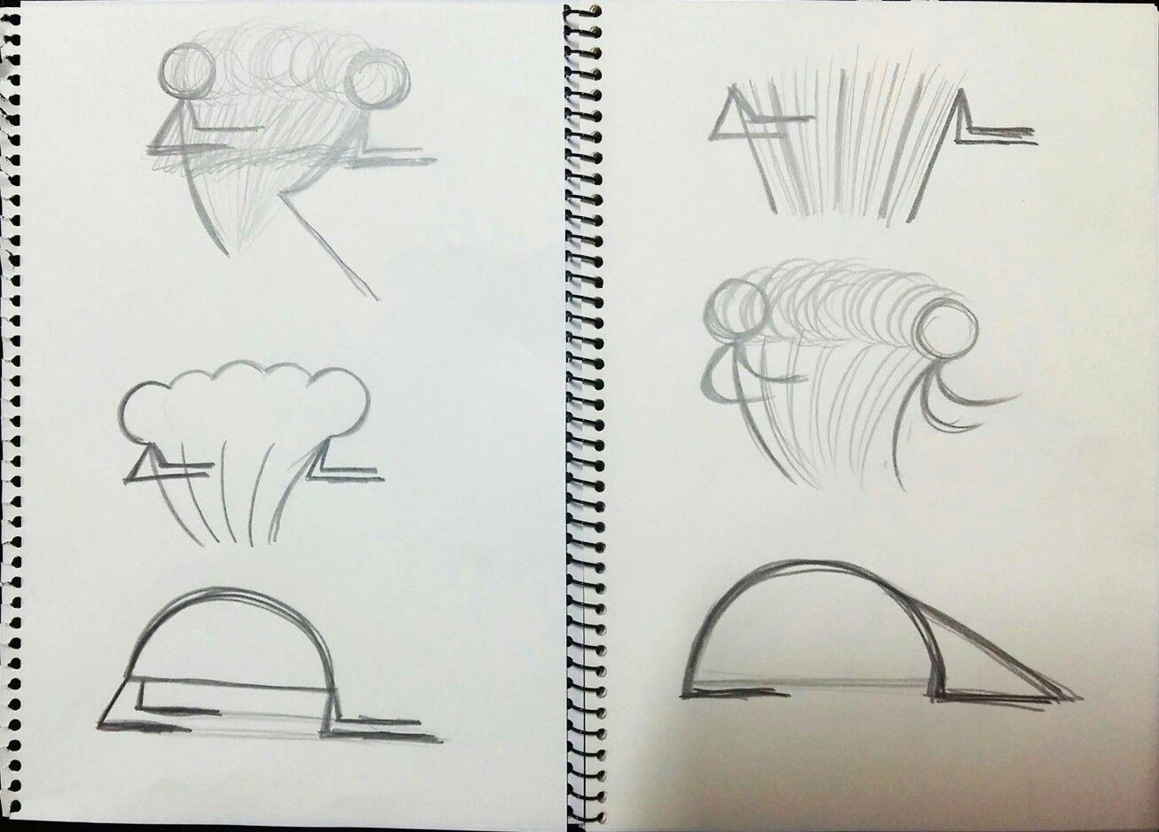 친구의 단순한 움직임을 잔상으로도 표현해보고 직선, 곡선 등을 사용하기도하며 기하학적인 선의 형태로도 나타내보았습니다. (연필)