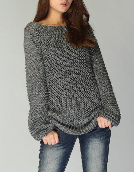 hand knit sweater eco cotton long sweater in charcoal. Black Bedroom Furniture Sets. Home Design Ideas