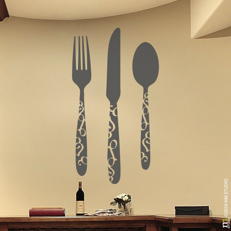 CLING | Flat Flatware | wall art, vinyl wall decals | For the Home ...