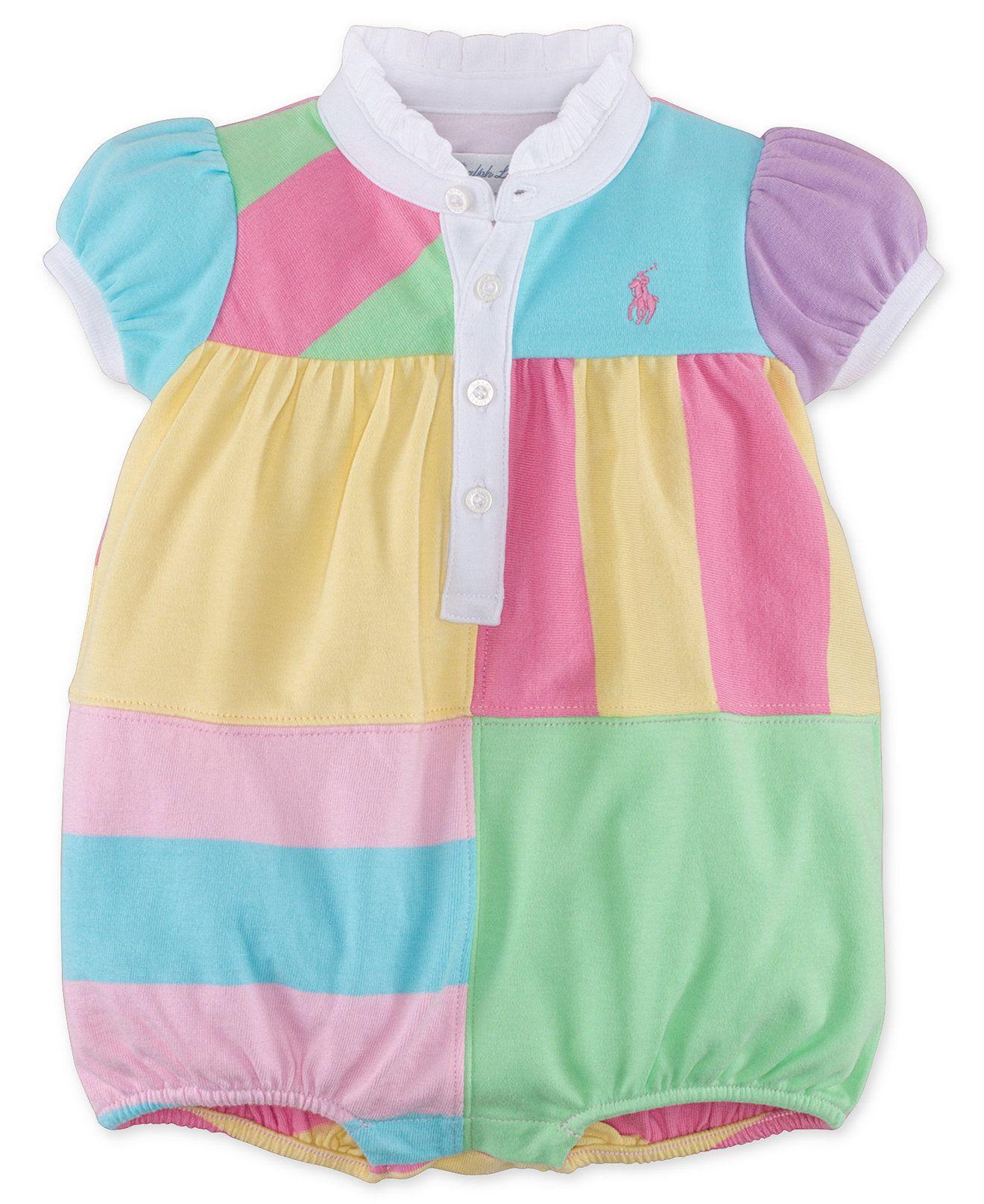 Ralph Lauren Baby Girls Pieced Polo Romper Kids Baby Girl 0 24