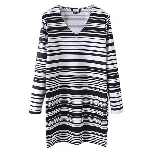 V-Neck Stripes Long Sleeve Loose Mini T-Shirt Dress ($29) ❤ liked on Polyvore featuring dresses, cotton t shirt dress, long sleeve v neck dress, long sleeve dress, long sleeve cotton dress and striped t shirt dress