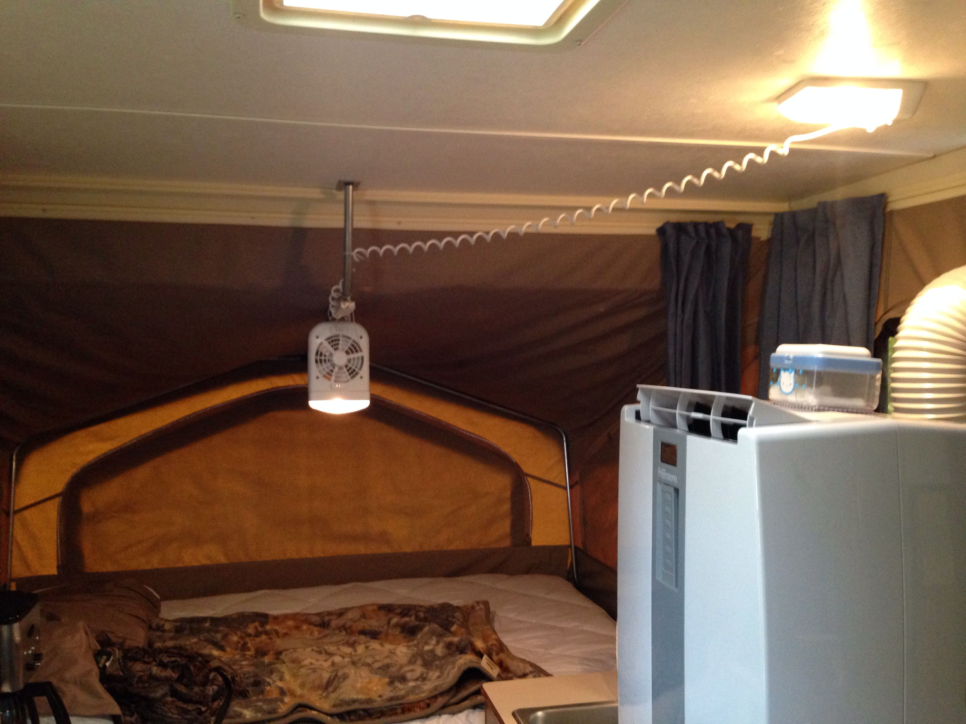 I Replaced My Old Interior Lights With New Ones That Were Capable Of Receiving The Plug From The Bunk And Lights Fan Popup Camper Best Mods Interior Lighting